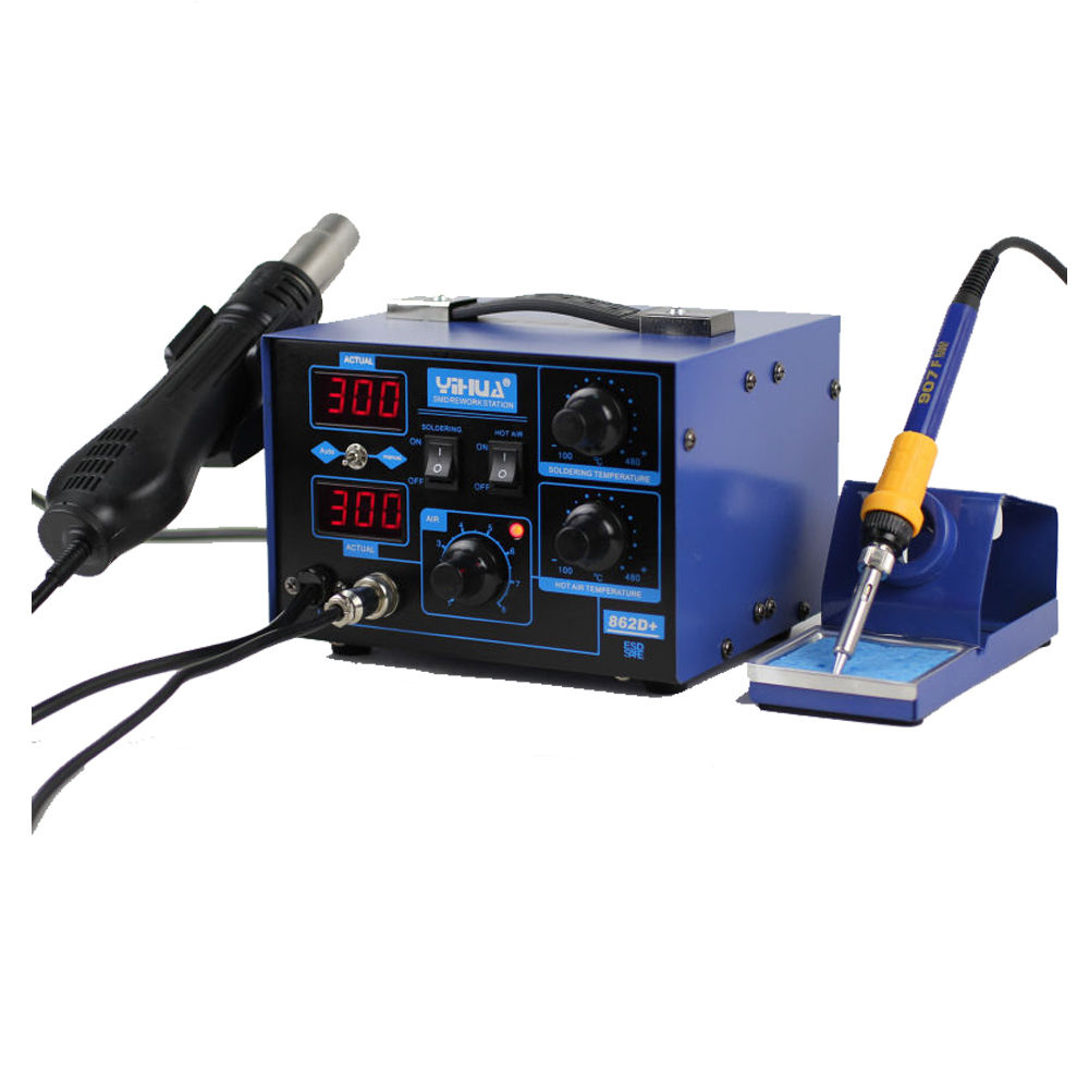yihua 862d 2in1 hot air gun electric rework smd esd soldering station iron k. Black Bedroom Furniture Sets. Home Design Ideas