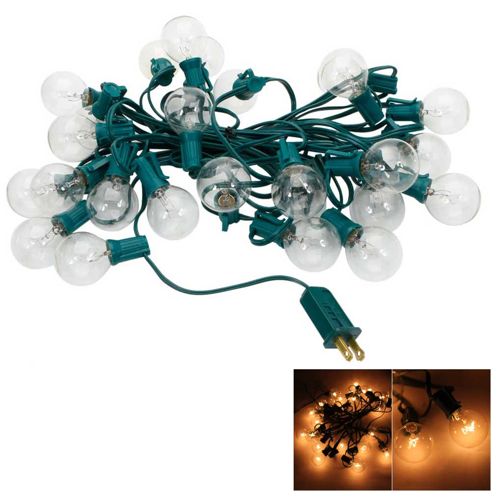 Clear Globe String Lights Set Of 25 G40 Bulbs : Set of 25 Clear Bulbs: 25FT G40 Outdoor Garden Globe Patio Party String Lights eBay