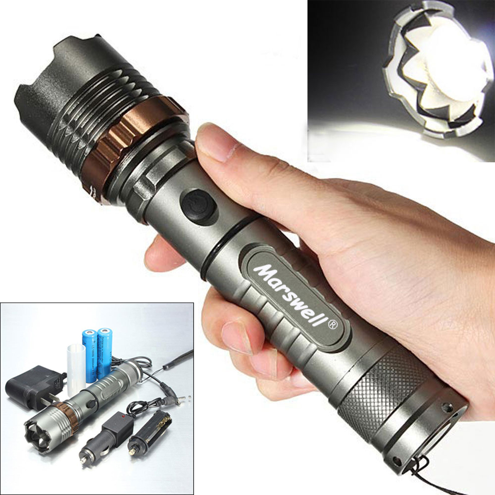 5000LM LED Flashlight Focus Torch Rechargeable w/ 2Pcs ...