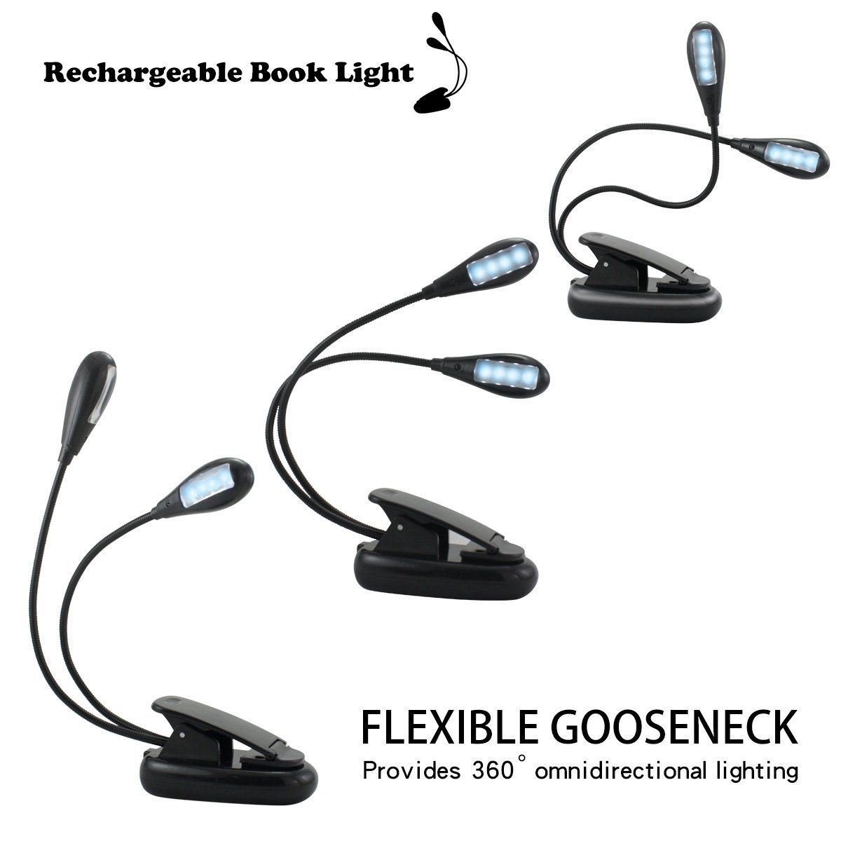 rechargeable book light 8 led usb double arms clip on. Black Bedroom Furniture Sets. Home Design Ideas