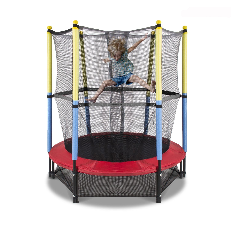 "55"" Round Kids Mini Trampoline With Enclosure Net Pad"