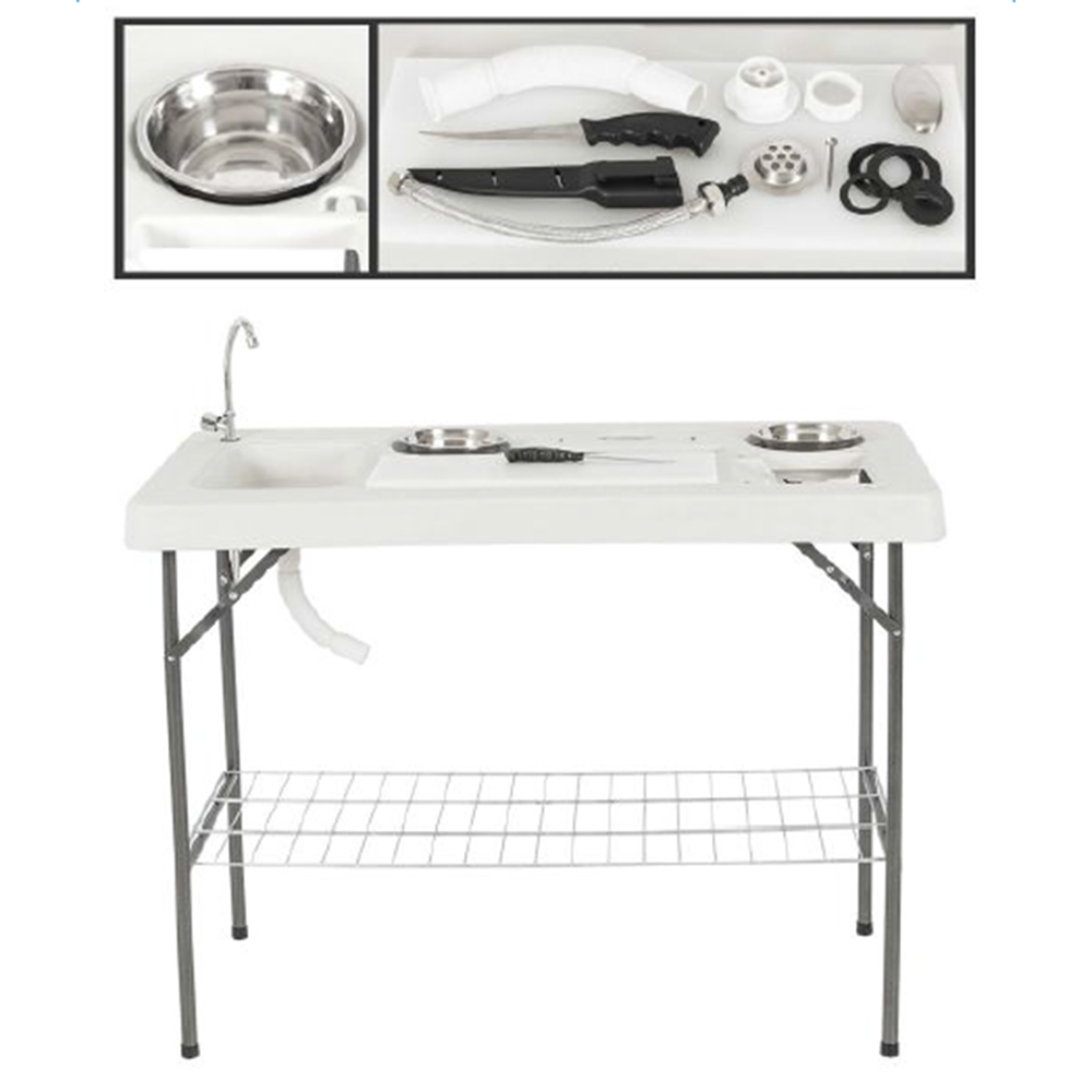 Coleman fish cleaning table re camping sink - Fully Equipped Portable Fish Table Set Hunting Cleaning Cutting Camping Faucet