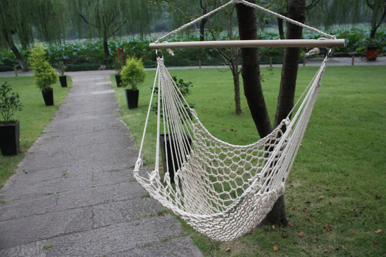 hammock cotton swing camping hanging rope new chair wooden. Black Bedroom Furniture Sets. Home Design Ideas