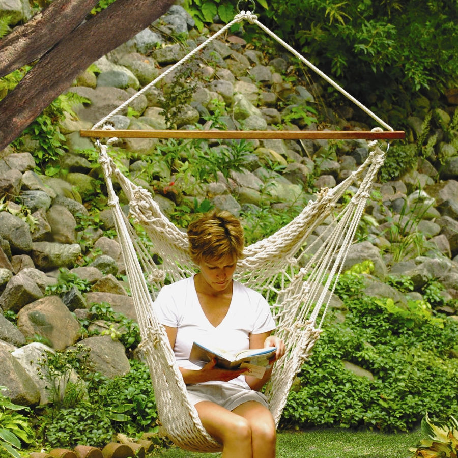 Hammock cotton swing camping hanging rope chair wooden for Rope hammock plans