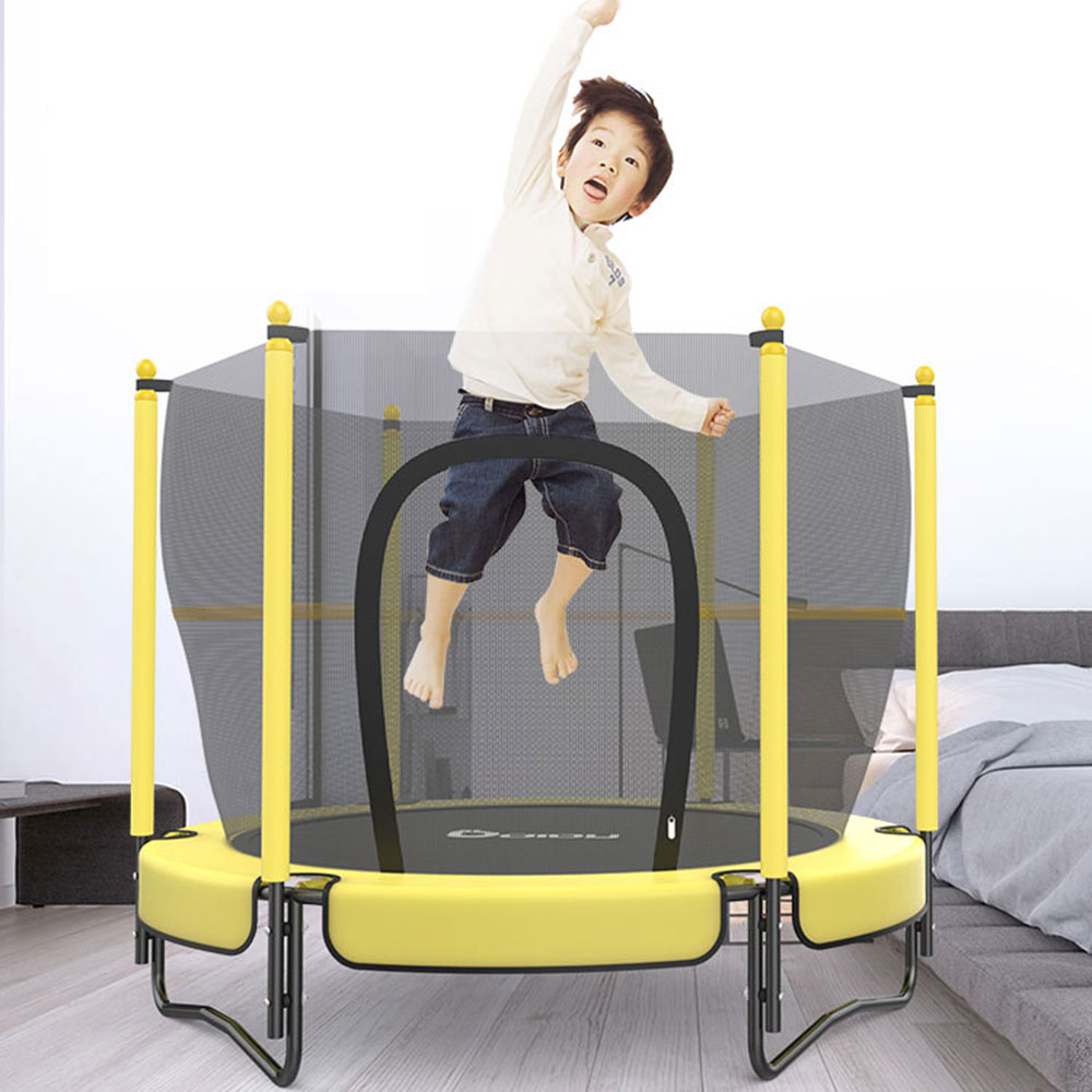 "60"" Round Kids Mini Trampoline W/ Enclosure Net Pad"