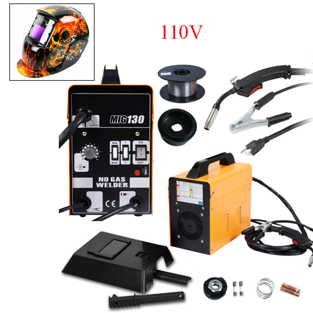 MIG 130 Electric Welder Welding Machine Weld Kit 110V with Helmet ...