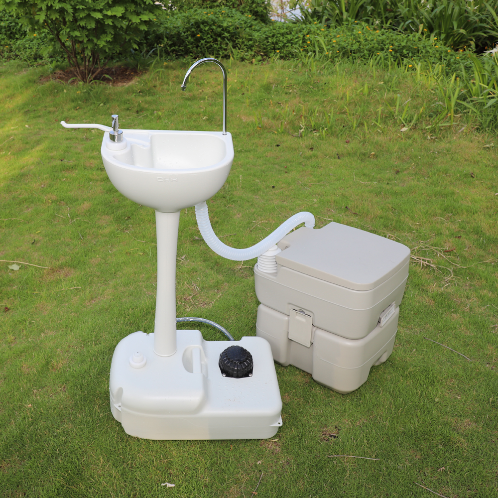 Garden Portable Hand Wash Sink And 20l Flush Toilet