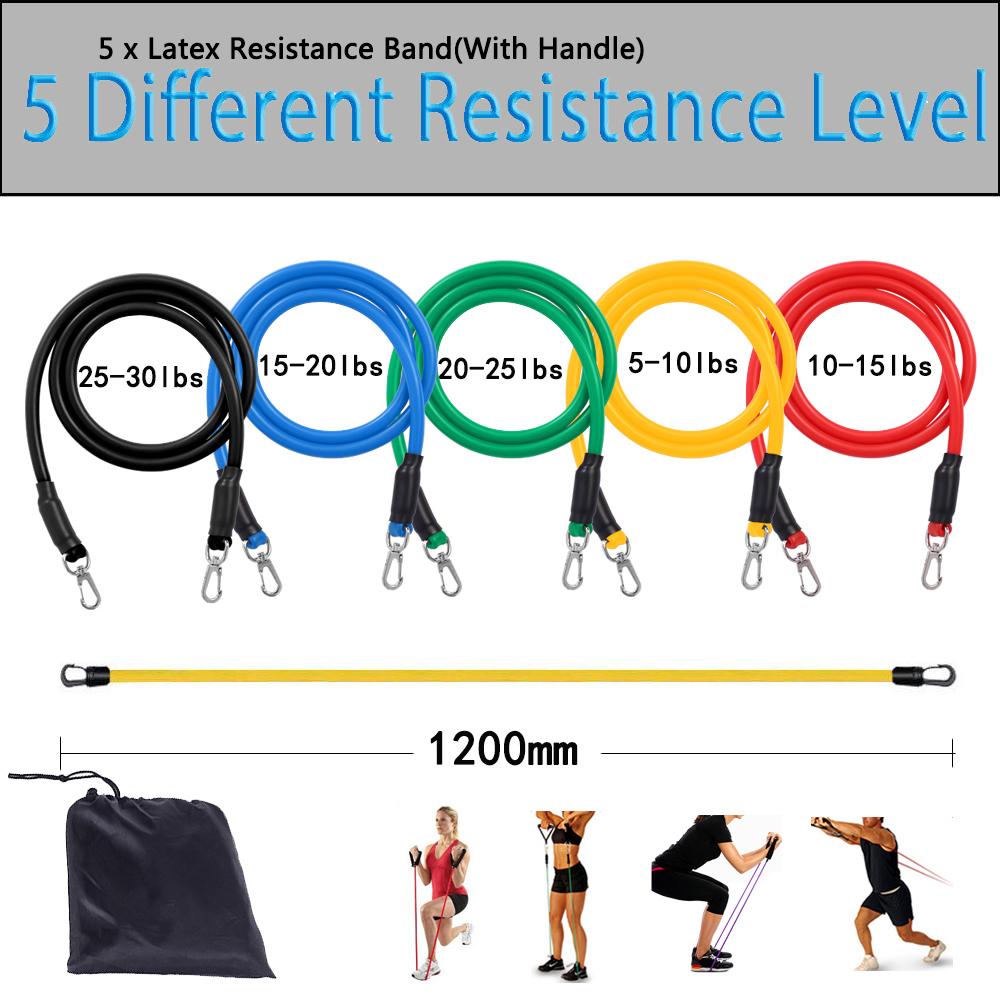 Pilates Resistance Bands with 3 Resistance Resistance Bands Set Exercise Bands