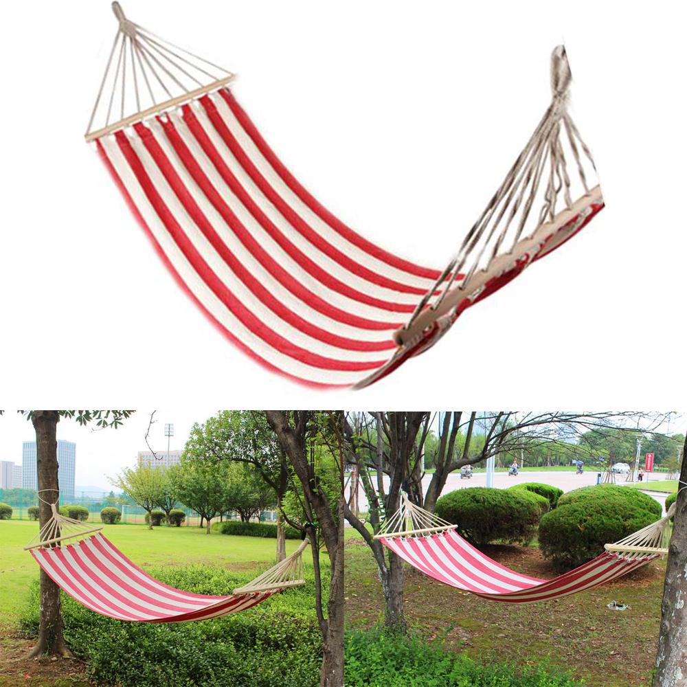 Hammock canvas solid wood spreader outdoor patio yard for Hanging round hammock