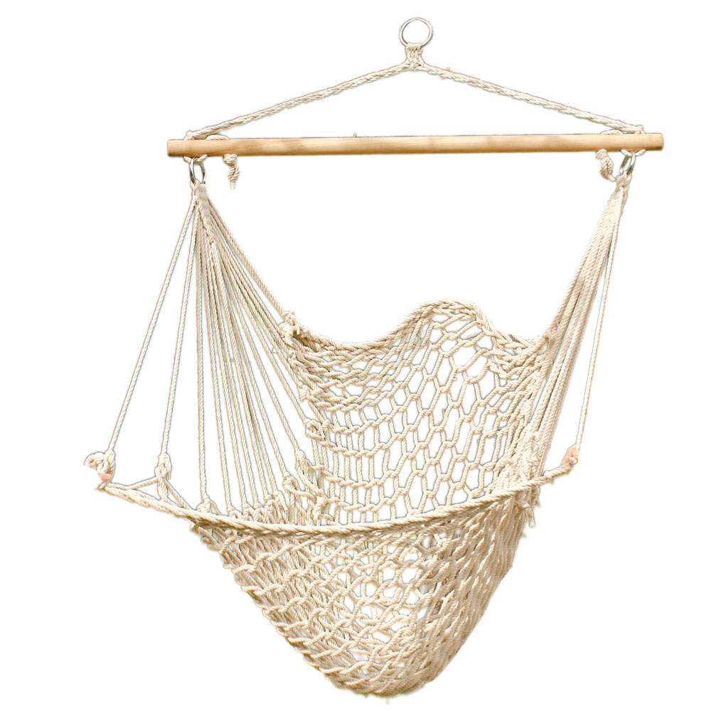 Hammock Cotton Swing Camping Hanging Rope Chair Wooden ...